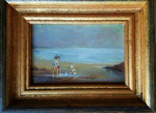 Small Oil Painting on board, signed,  Children on Beach Seashore